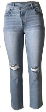 Tinseltown Juniors' Ripped Asymmetrical Straight-Leg Jeans