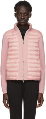 Moncler Pink Knit and Down Jacket