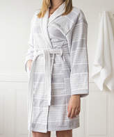 Cathy's Concepts White & Gray Stripe Personalized Turkish Cotton Robe
