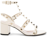 Valentino Patent Leather Rockstud Sandals in White.