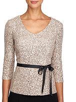 Alex Evenings Sequined Lace Tie-Waist Blouse