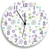 Kid o Butterfly Garden Party Purple Wall Clock for Girls Bedroom, Nursery Wall Decor for Girls Bedroom, Baby Girls Nursery Wall Hanging