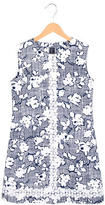 Oscar de la Renta Girls' Printed Croceht-Trimmed Dress w/ Tags