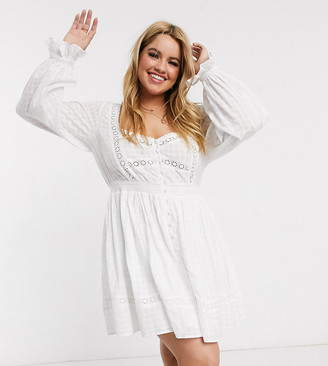 ASOS DESIGN Curve button through lace insert mini dress with elasticated waist in white