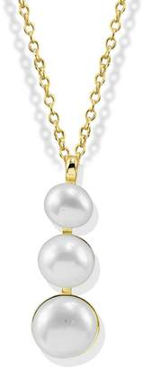 Argentovivo 14K Gold Plated Sterling Silver Triple 6.25-8.3mm Freshwater Pearl Drop Pendant Necklace