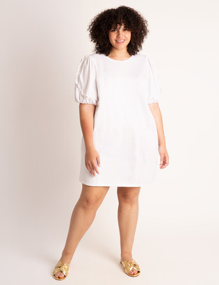 ELOQUII Puff Sleeve Easy Dress