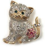 Avalaya Two Tone Crystal Cat Brooch