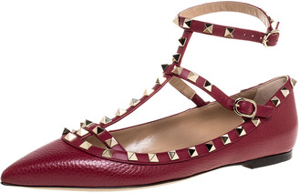 Valentino Maroon Leather Rockstud Ankle Strap Ballet Flats Size 40
