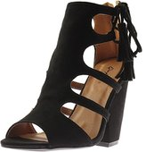 Qupid Womens Sawyer Faux Suede Chunky Heel Dress Sandals
