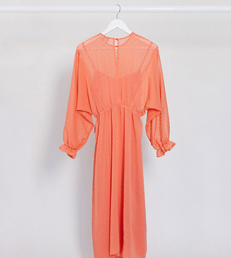 ASOS DESIGN Maternity dobby batwing midi dress with drawstring waist in coral