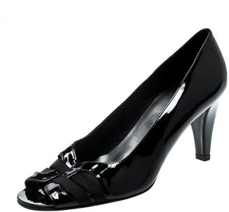 Stuart Weitzman Black Patent Leather Peep Toe Pumps Size 38.5