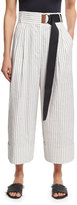 Tibi Cecil Striped Culottes with D-Ring Belt, White