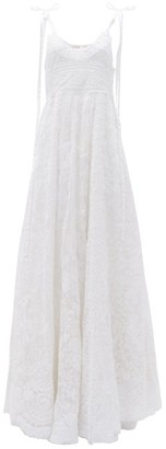 LoveShackFancy Shoshana Tiered Embroidered Maxi Dress - White