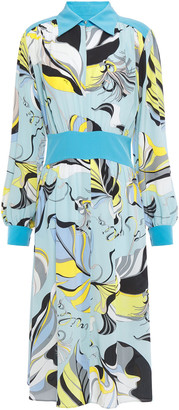 Emilio Pucci Printed Silk Crepe De Chine Midi Dress