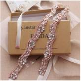 Yanstar Handmade Gold Beads Bridal Belts Sashes Blush Wedding Belt For Wedding Bridesmaid Dress