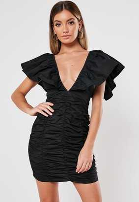 Missguided Black Ruched Plunge Stretch Cotton Poplin Bodycon Mini Dress