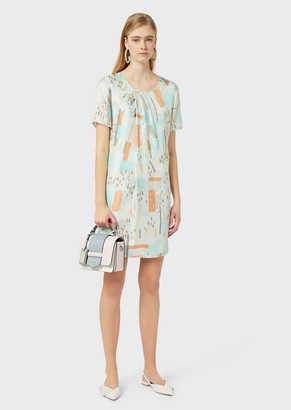 Emporio Armani Silk-Twill Dress With Brushstroke Print And Pleated Bow