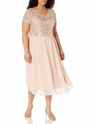 Adrianna Papell Women's Tea Length Beaded Dress with Metallic Mesh Bodice Plus Size
