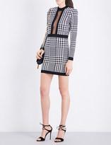 Balmain Houndstooth round-neck knitted dress