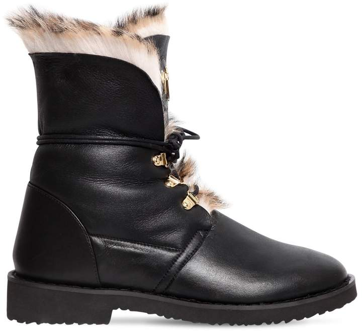 Giuseppe Zanotti Design 30mm Leather & Rabbit Fur Ankle Boots