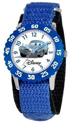 Disney Cars Boys' Stainless Steel Time Teacher Watch, Blue Bezel, Blue Nylon Strap