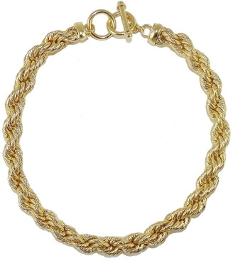 Savvy Cie 18K Gold Plated Bold Rope Toggle Chain Necklace