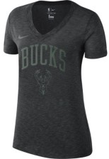 Nike Milwaukee Bucks Women's Dry Slub V-Neck T-Shirt