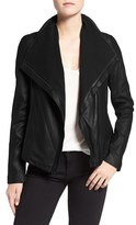 Tahari Women's Andreas Knit Trim Collar Leather Jacket