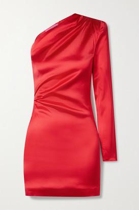 GAUGE81 Charras One-sleeve Draped Satin Mini Dress - Crimson