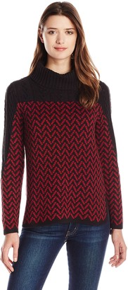 Heather B Women's Herringbone Pattern Pullover