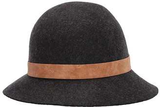 San Diego Hat Company WFH8206 Wool Felt Cloche with Leather Band (Mix Grey) Caps