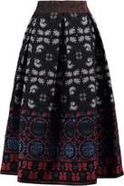 Anna Sui Pleated cotton-blend jacquard midi skirt