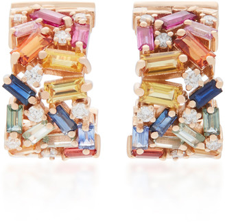 Suzanne Kalan Rainbow Firework 18K Rose Gold Diamond And Sapphire Earrings