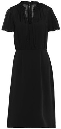 Mikael Aghal Gathered Georgette And Crepe Dress