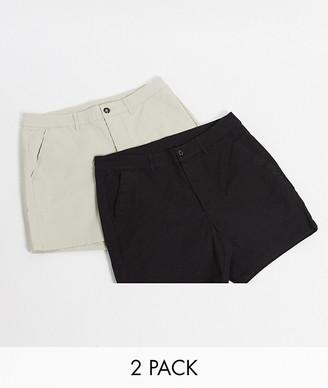 ASOS DESIGN 2 pack skinny chino shorter shorts in beige & black save