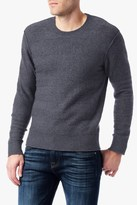 7 For All Mankind Tonal Striped Crew In Heather Charcoal