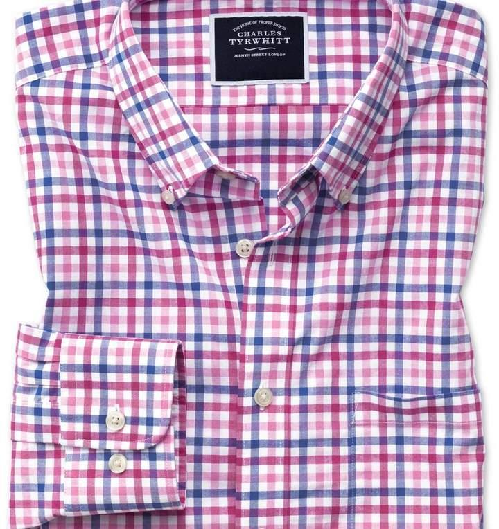Charles Tyrwhitt Slim fit poplin pink multi gingham shirt