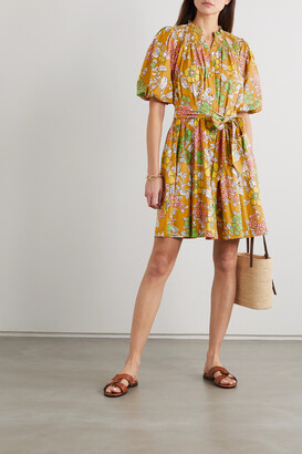 TORY BURCH - Belted Shirred Floral-print Cotton-blend Mini Dress - Yellow