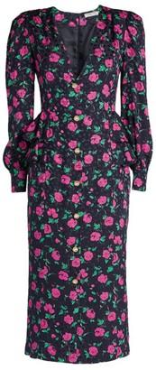 Alessandra Rich Silk Floral Peplum Midi Dress