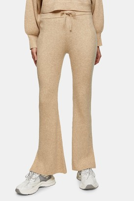Topshop Womens Oat Flare Knitted Trousers With Wool - Oatmeal