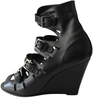Surface to Air Black Leather Sandals