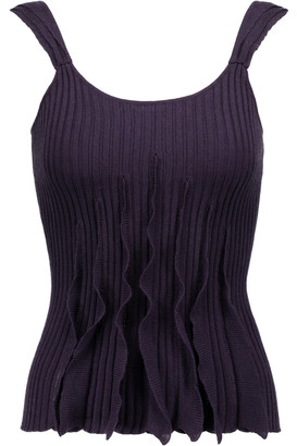 Valentino Ruffled Ribbed Wool, Silk And Cashmere-blend Tank