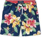 Ralph Lauren Captiva Floral-Print Swim Trunks, Blue, Size 2-4