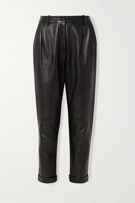 Nili Lotan Montana Pleated Leather Tapered Pants - Black
