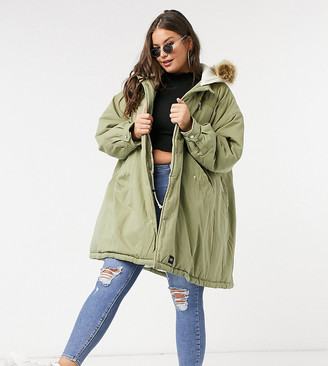 Sixth June Plus oversized parka coat with faux-fur hood