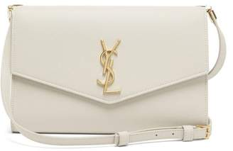 Saint Laurent Uptown Mini Grained-leather Cross-body Bag - Womens - White