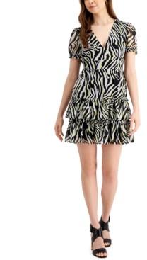 Bar III Ruffled Zebra-Print Mini Dress, Created for Macy's