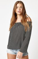 La Hearts Long Sleeve Smocked Off-The-Shoulder Top