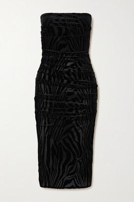 Alex Perry Codie Ruched Devore-velvet Mini Dress - Black