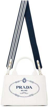 Prada White Small Cotton Canvas Logo Tote